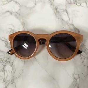 light tan/orange + tortoise shell round sunglasses
